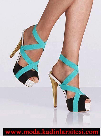 mavi bantlı ayakkabı modeli