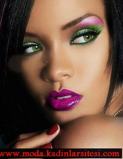 pembe yeşil göz makyajı modeli