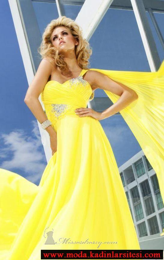 sarı tek omuz abiye modeli