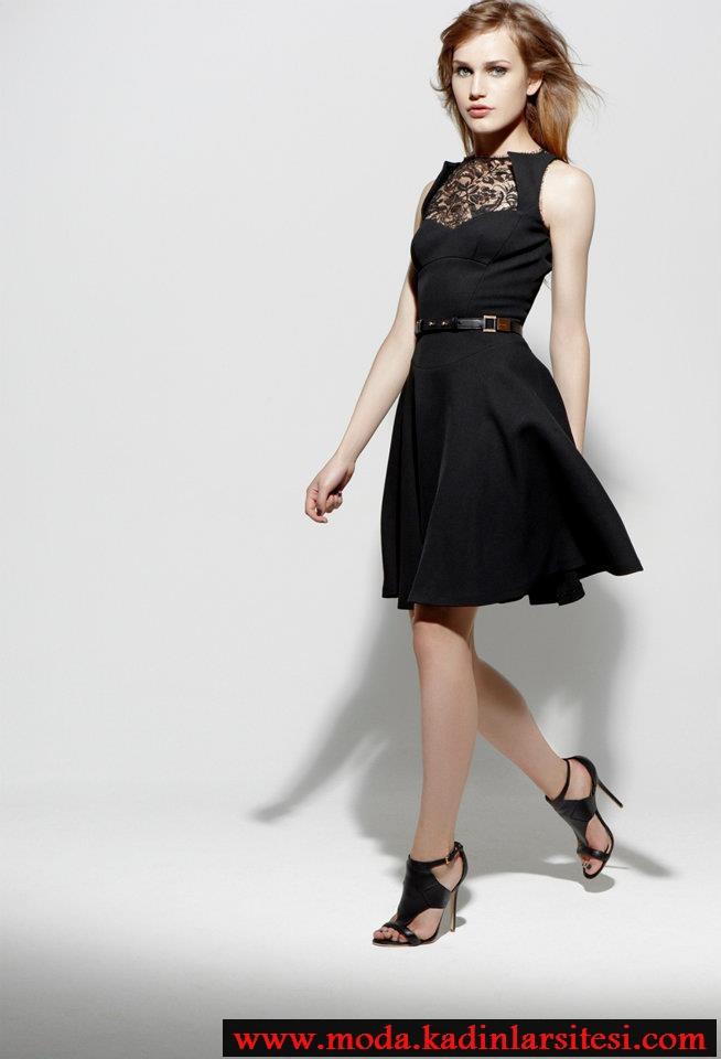 siyah dantelli elbise modeli