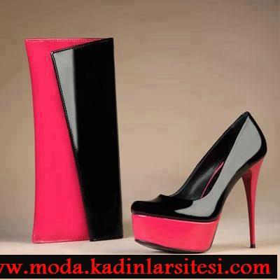 siyah fuşya ayakkabı çanta modeli