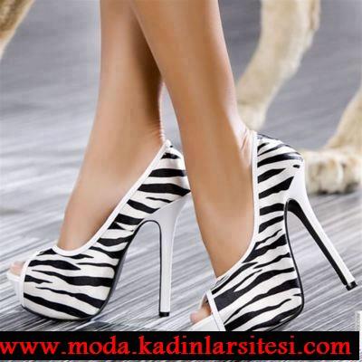 zebra desenli ayakkabı modeli