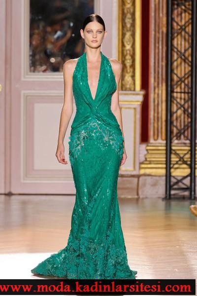 zuhair murad yeşil payetli abiye modeli