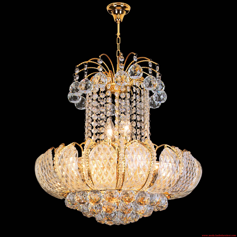 altın kaplama kristal avize modeli