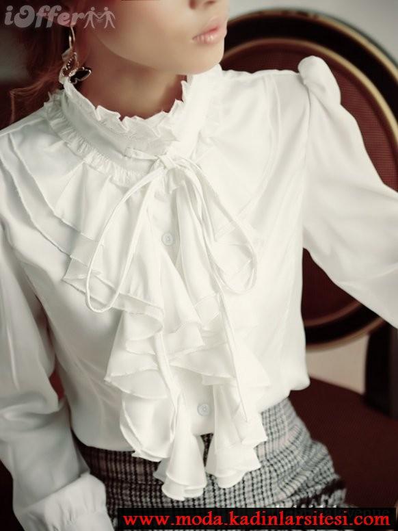 beyaz volanlı ve biyeli gömlek modeli