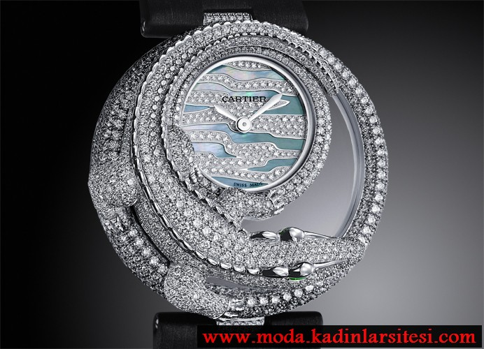 cartier timsah figürlü pırlanta saat modeli