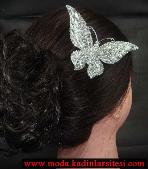 kelebek figürlü saç aksesuar modeli