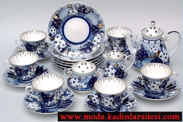 mavi puantiyeli çay takımı modeli