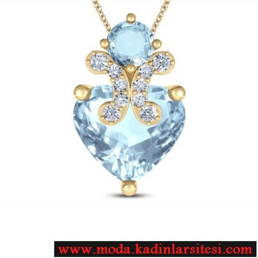 mavi taş kalp figürlü kolye ucu modeli