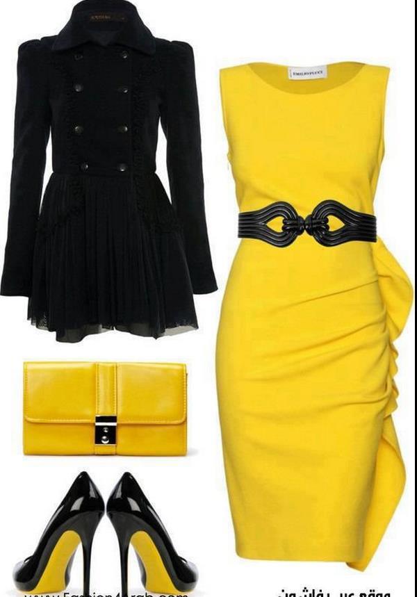 sarı mini elbise kombin modeli