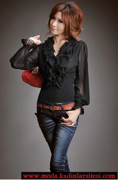 siyah şifon volanlı gömlek modeli