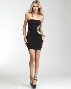 siyah dore detaylı mini elbise modeli