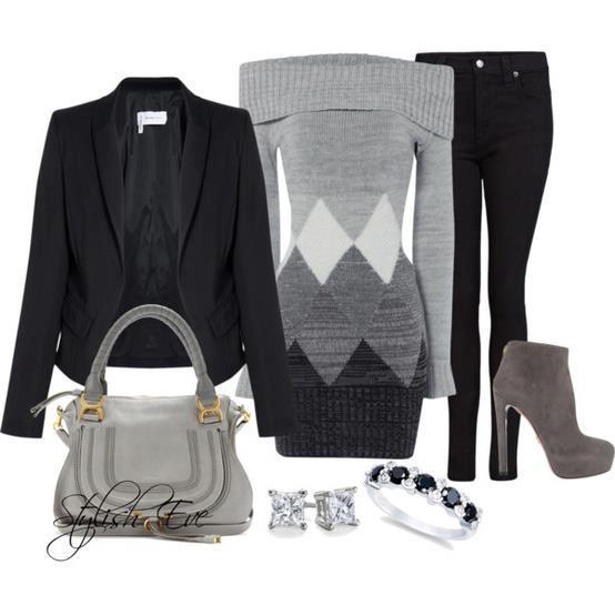 siyah gri pantolon kombin modeli