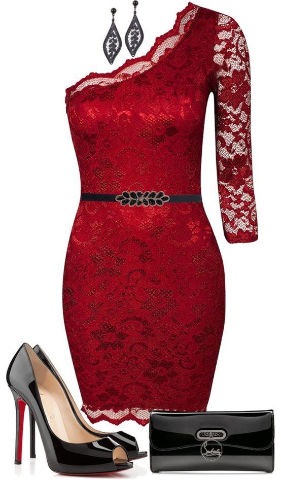 kırmızı dantel elbise kombin modeli