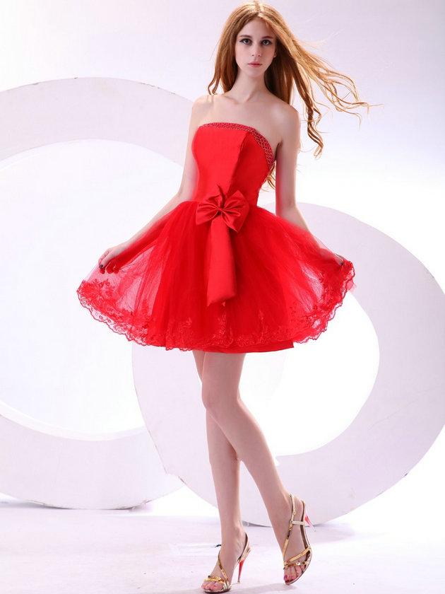 kırmızı straplez gece elbise modeli