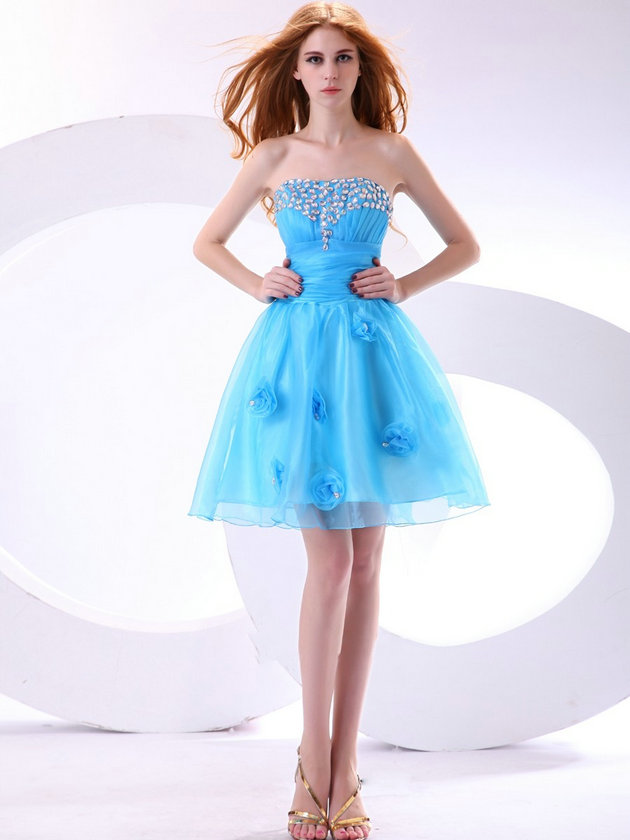 mavi organze gece elbise modeli