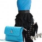 mavi siyah elbise kombin modeli