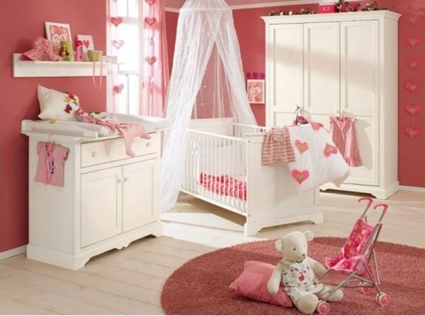 Çocuk ve bebek odası modelleri pembe beyaz kız bebek odası