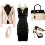 siyah krem elbise kombin modeli
