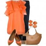 turuncu bluz pantolon kombin modeli