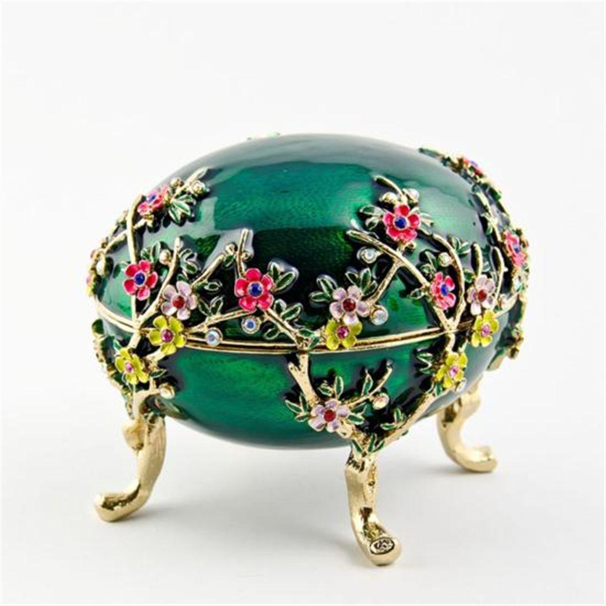 yeşil çiçek figürlü yüzük kutusu
