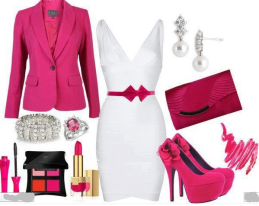 fuşya beyaz elbise kombin modeli