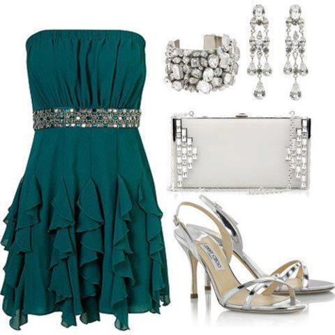 petrol yeşili elbise kombin modeli
