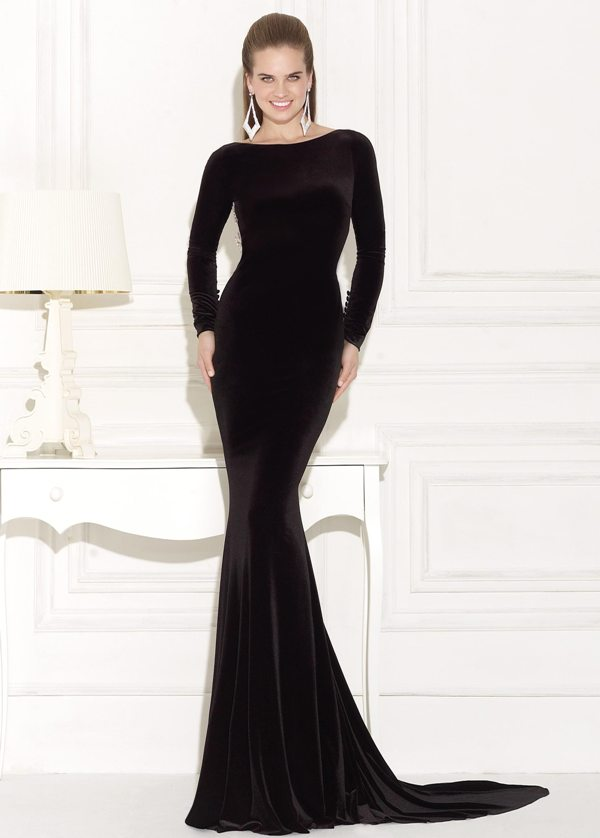 siyah kadife uzun kollu uzun dar abiye elbise