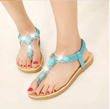 turkuaz taşlı sandalet