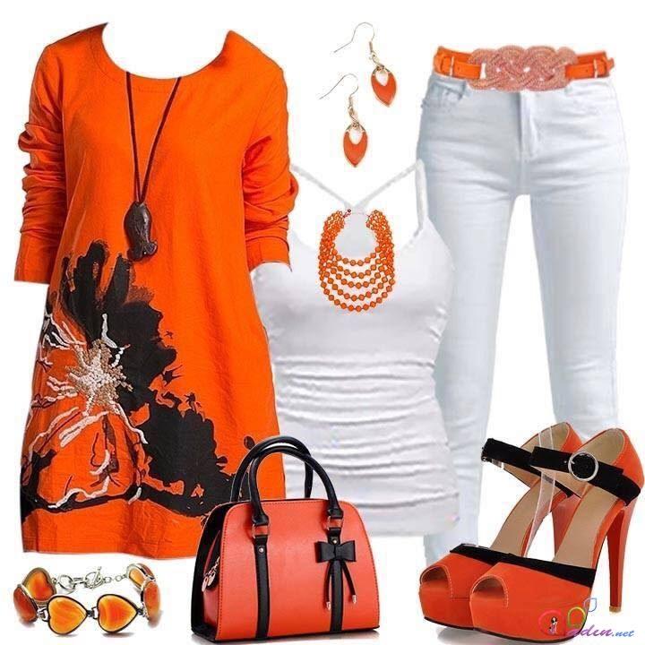 turuncu tunik ve kombini